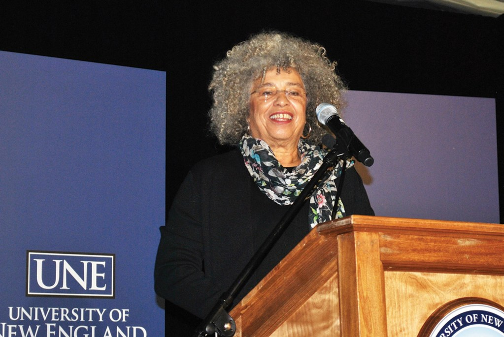 Civil-rights activist Angela Davis speaks at the University of New England in Biddeford during an observance for Dr. Martin Luther King Jr. on Wednesday. Davis has conducted research on issues related to race, gender and imprisonment.