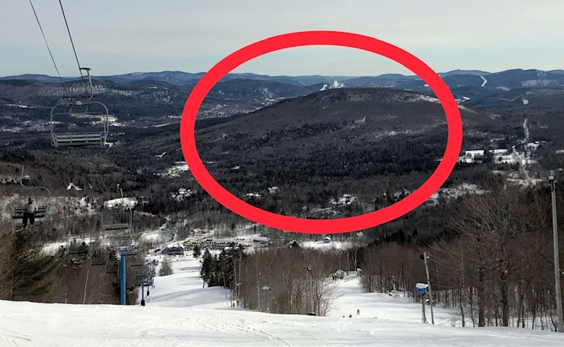 The approved, 450-acre housing project near Black Mountain of Maine in Rumford is in the area marked by the circle.