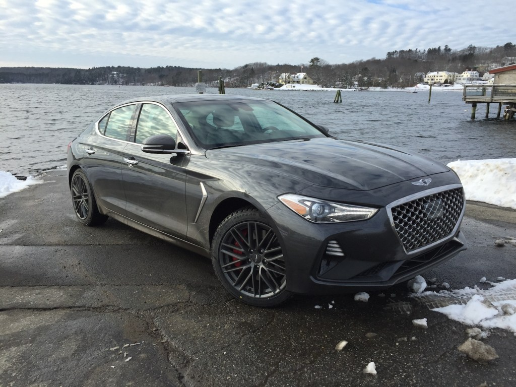 """The Genesis G70 has the necessary stance and performance of a mature sports sedan."" Photo by Tim Plouff. Location: by the river in Damariscotta."