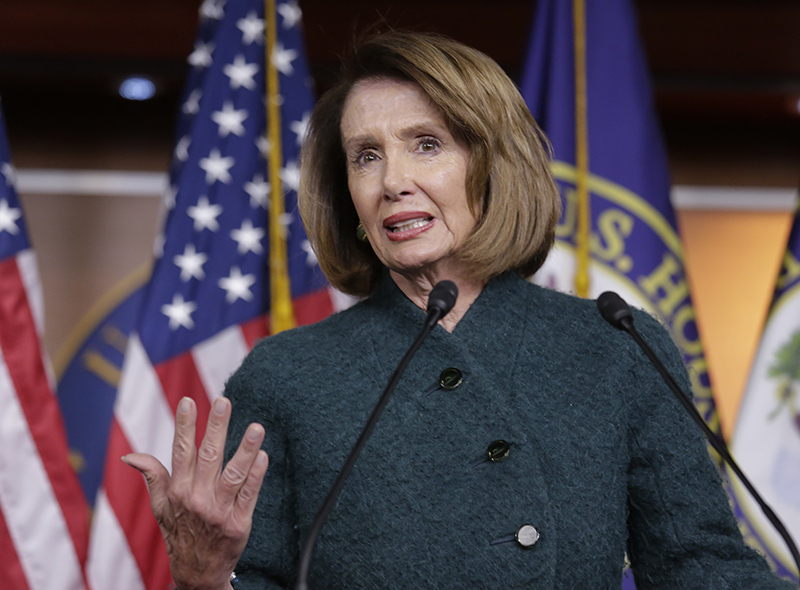 Speaker of the House Nancy Pelosi, D-Calif., meets with reporters on Jan. 10.