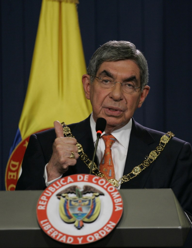Costa Rica's President Oscar Arias speaks during a news conference at the presidential palace in Bogota, after being decorated with the San Carlos Order in 2010. Arias was on a two-day official visit. (AP Photo/William Fernando Martinez)
