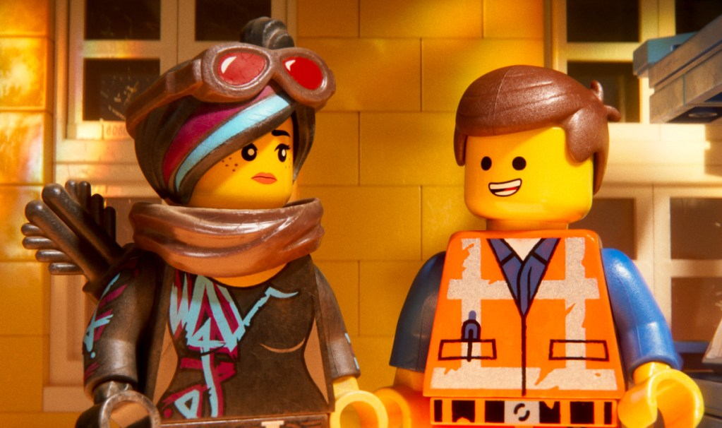 """Lucy (voice of Elizabeth Banks) and Emmet (Chris Pratt) in """"The Lego Movie 2: The Second Part."""""""