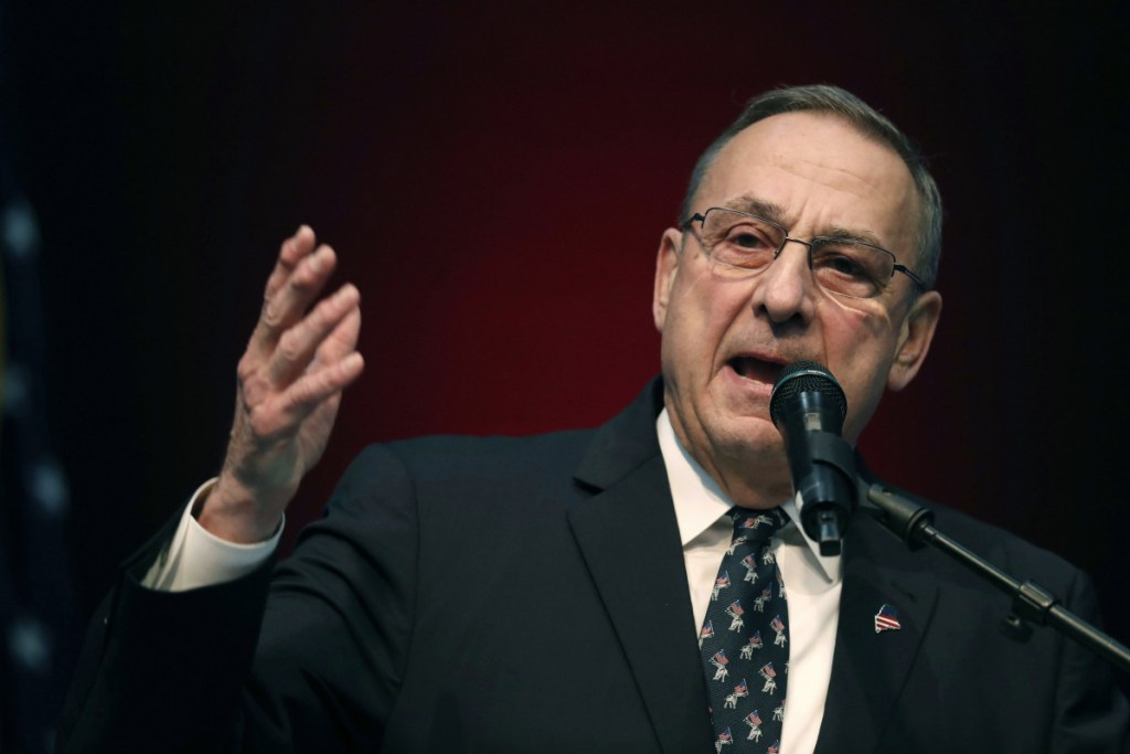 "Paul LePage, shown in May 2018, said Thursday that elimination of the Electoral College would hurt white people. LePage told WVOM-AM that allowing the popular vote to choose the president would give minorities more power and that ""white people will not have anything to say."""