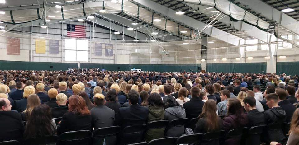 "The field house at the University of Southern Maine was filled by close to 2,500 people Thursday for the funeral of Wayne ""Pooch"" Drown."