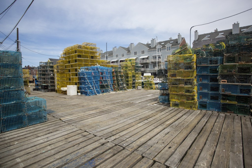 Lobster traps are piled high on Widgery Wharf in Portland. Last year saw an uptick in Maine lobster landings, both in size and value, according to data released Friday at the Maine Fishermen's Forum.
