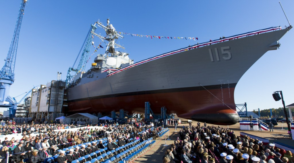 BATH, ME - OCTOBER 31: The audience is assembled for the christening ceremony of the USS Rafael Peralta on Saturday at Bath Iron Works. (Photo by Ben McCanna/Staff Photographer)