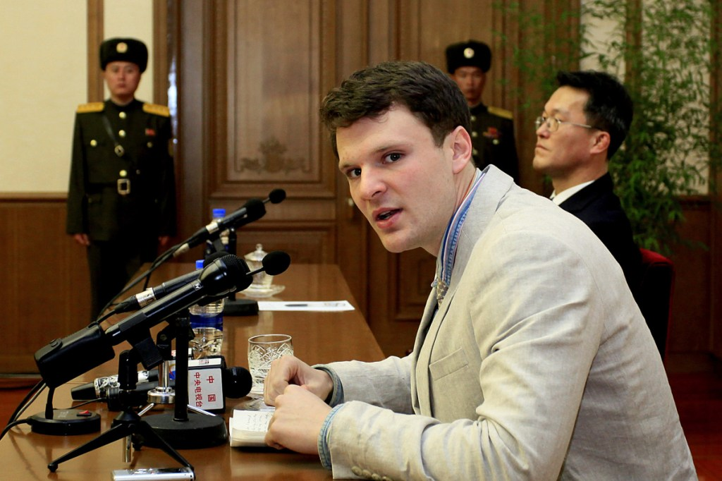 American student Otto Warmbier speaks to reporters in Pyongyang, North Korea, on Feb. 29, 2016.