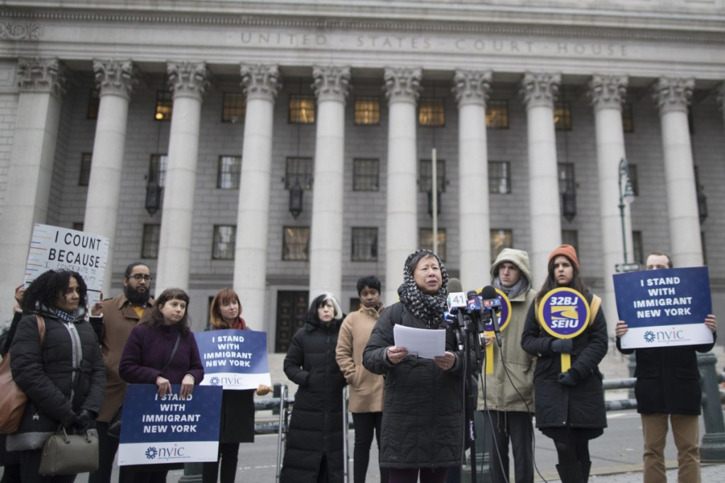 Elizabeth OuYang, coordinator of New York Counts 2020, speaks at a news conference outside the Thurgood Marshall United States Courthouse in November 2018.