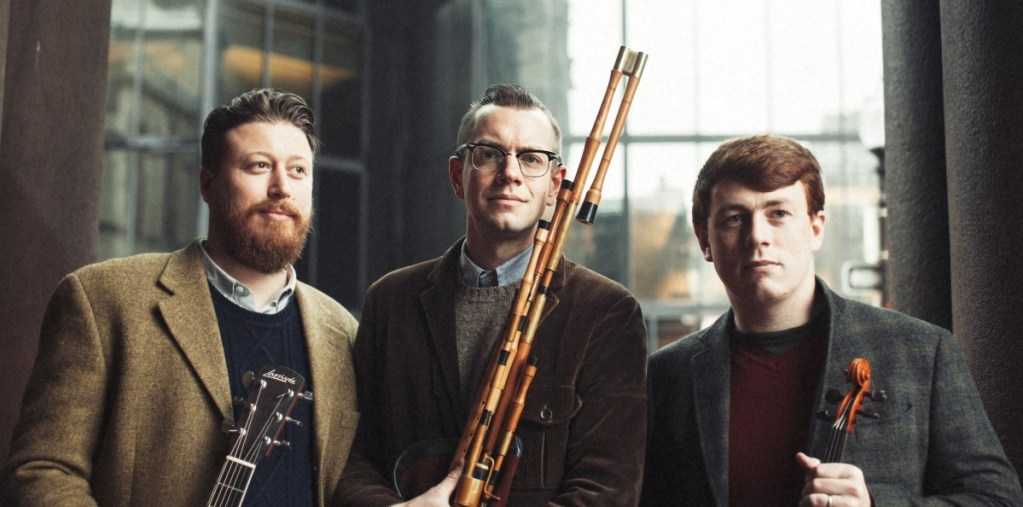 Daymart trio musicians  Eric McDonald (guitar, vocals), Will Woodson (flute, uilleann pipes), and Dan Foster (fiddle) will perform at the kickoff of the Farmington Historical Society's North Church Concert Series on Thursday to open its  2019 season.