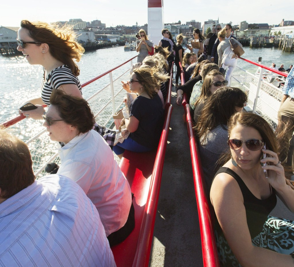 Seating is at a premium on the Machigonne II during a run to Peaks Island in July 2017. Casco Bay Lines has plans for a bigger ferry to accommodate the increasing number of visitors, but some residents have concerns and say their voices aren't being heard.
