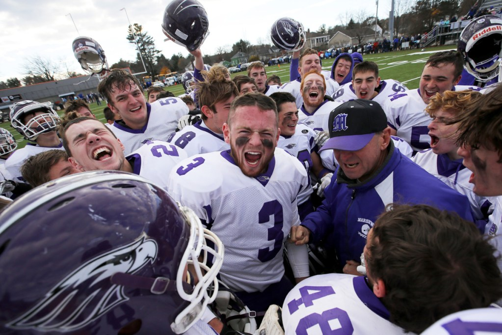 The Marshwood High football team, which won the Class B state title, will remain in that class instead of rising to Class A following an MPA decision.