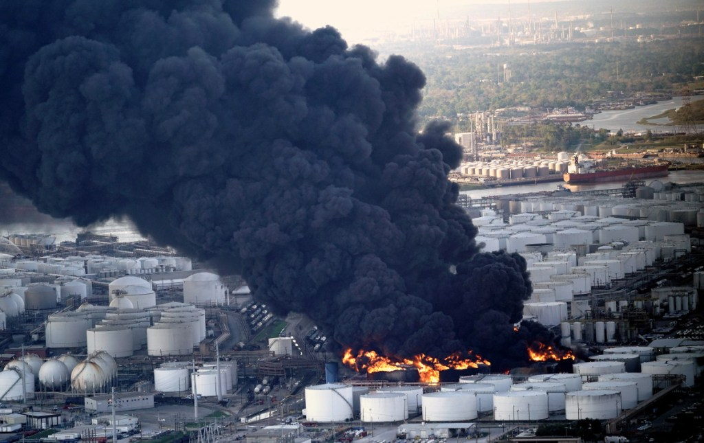 Officials estimated Tuesday that the fire burning at a petrochemical terminal in Deer Park, Texas, will likely go on for another two days.