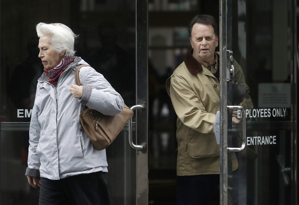 Edwin Hardeman leaves the federal courthouse in San Francisco last month with his wife, Mary. Hardeman claimed his non-Hodgkin's lymphoma was caused by the weed killer Roundup, and a jury has agreed.