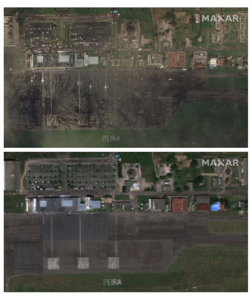 Satellite images of the city airport in Beria, Mozambique, show the impact of Cyclone Idai on the area, with top photo before the cyclone dated March 13 and photo below dated March 22.