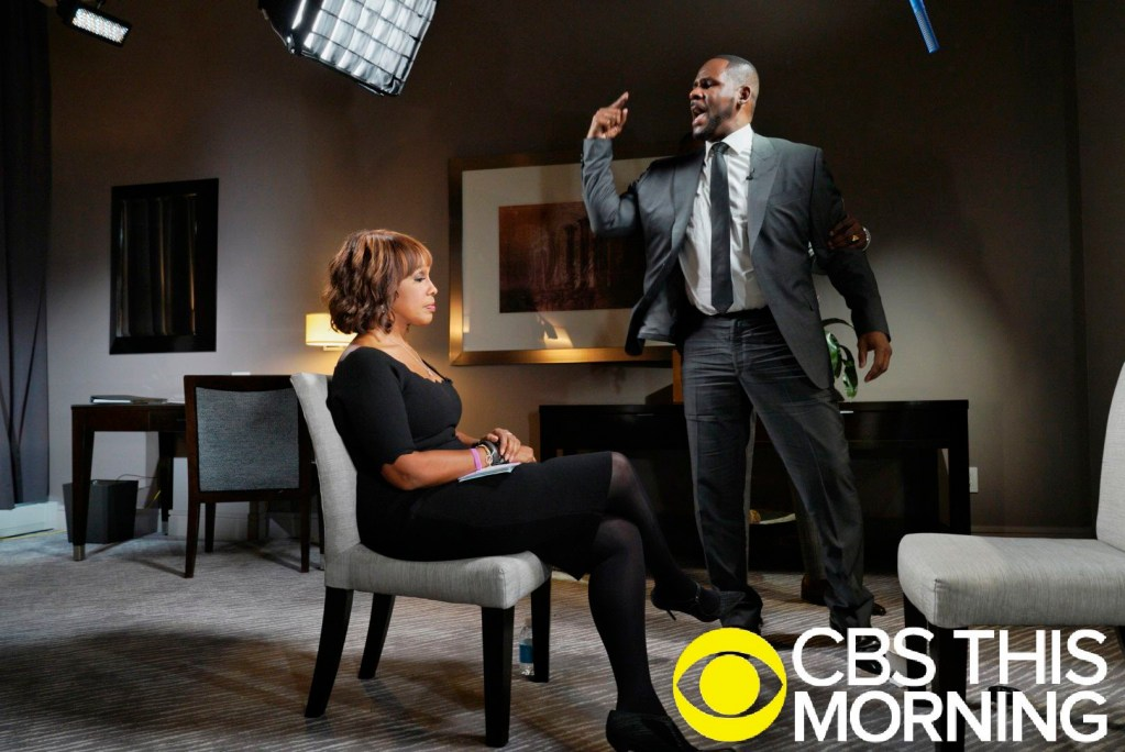 "In this March 5, 2019 photo provided by CBS, R&B singer R. Kelly gestures while making a point during an interview with Gayle King on ""CBS This Morning"" broadcast.  The singer gave his first interview since being charged last month with sexually abusing four females dating back to 1998, including three underage girls. Kelly has pleaded not guilty to 10 counts of aggravated sexual abuse."