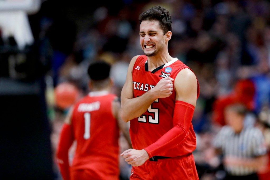 Texas Tech guard Davide Moretti celebrates after a basket Saturday in the West Regional final against Gonzaga. The Red Raiders advanced to their first Final Four with a 75-69 victory.