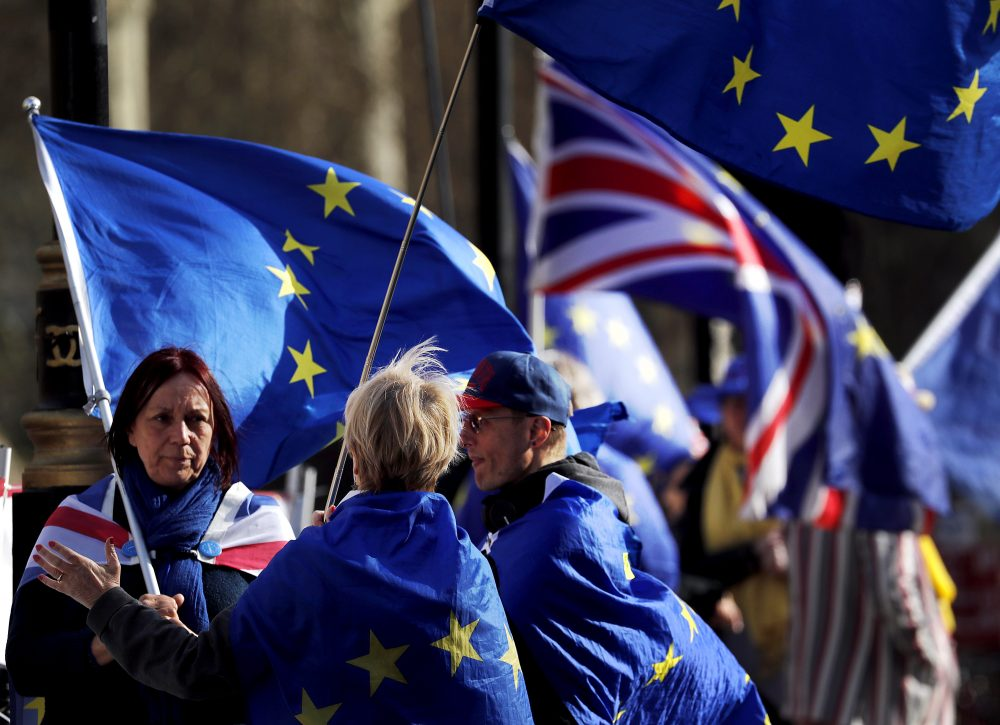 Brexit protesters demonstrate near the House of Parliament in London on Tuesday.