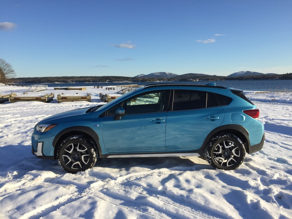 The Crosstrek is still available as a budget crossover, ($21,995); the writer's fully equipped Crosstrek Hybrid is $34,995 base, $38,470 as shown. Photo by TIm Plouff, at Lamoine State Park. Mount Desert Island is in the distance.