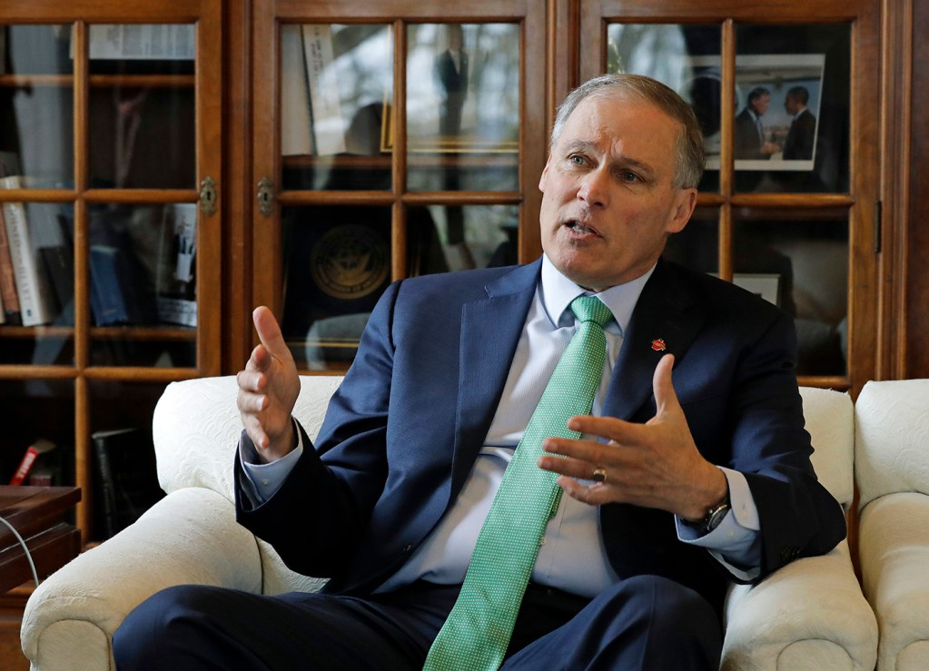 Washington Gov. Jay Inslee in his office at the Capitol in Olympia, Wash. in January.