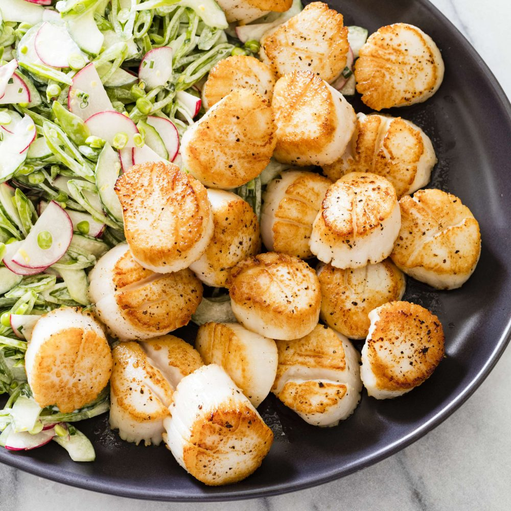 Pan-Seared Scallops with Snap Pea Slaw