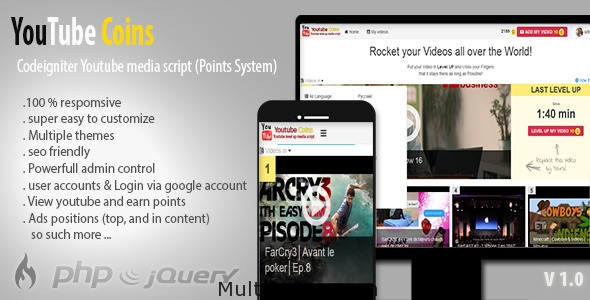 YouTube Coins - (Media Script + Points System)Banner