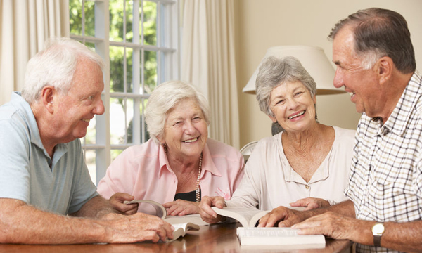 42163977 - group of senior couples attending book reading group