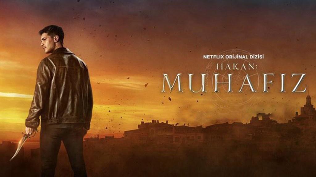 Turecki plakat reklamujący serial The Protector pokazujący głównego bohatera, Hakana, z magicznym sztyletem w ręku na tle Istambułu i Hagii Sofii.