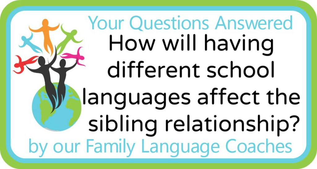 How will having different school languages affect the sibling relationship?