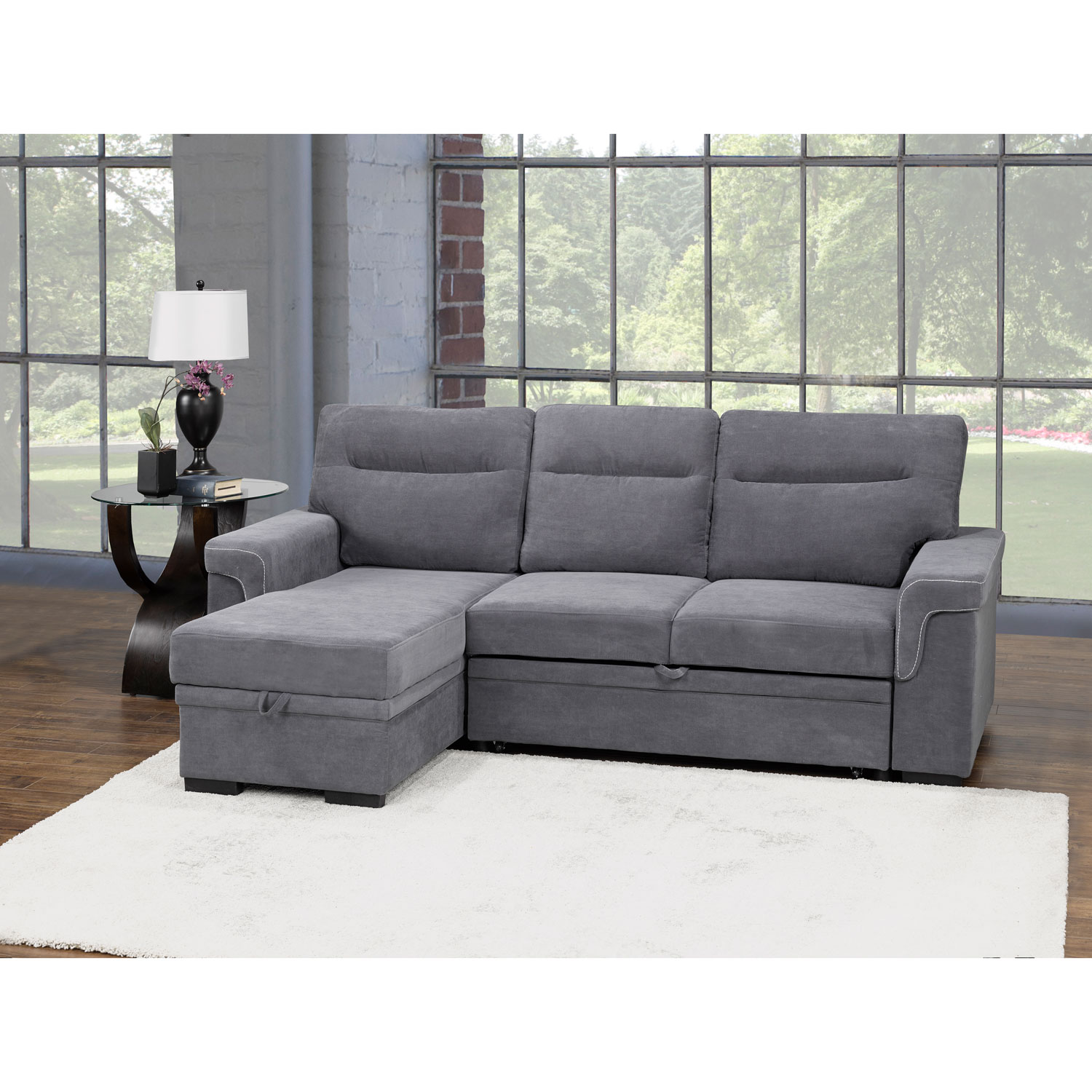 Almalfi Transitional 2 Piece Polyester Sectional Sofa Sleeper Double Grey Only At Best Buy Best Buy Canada