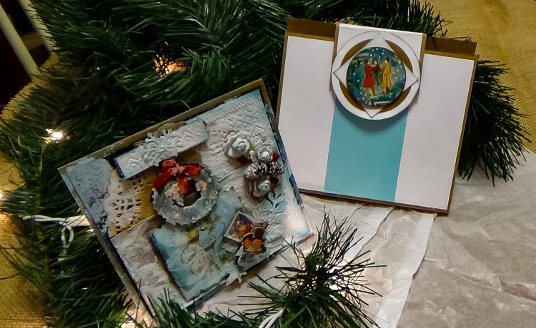 """This is a Christmas Card that I made using <a href=""""https://www.ebay.com/itm/163785896092"""">Graphic45 Christmas Carol </a>collection.  I sold it on eBay"""