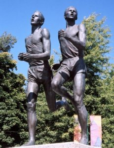 Roger Bannister and John Landy ran the mile in under four minutes at the  1954 British Empire and Commonwealth Games hosted in Vancouver, B.C.