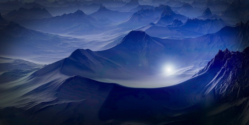 moonlight alien mountain range dungeons dragons