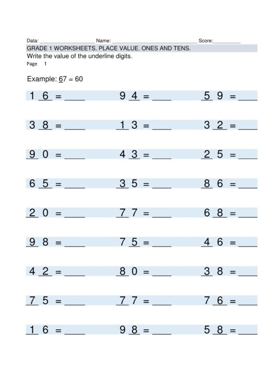 Multiplication Worksheets Grade 1