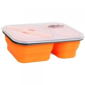 Контейнер 2 отсека силиконовый Tramp orange