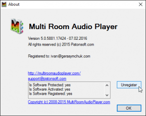 About window - Unregister software