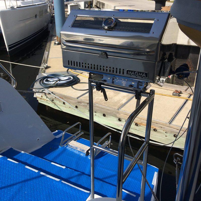 Custom Designed BBQ Bracket by Multitech Marine on a Catamaran