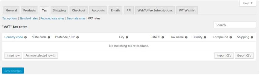 Settings up tax rates