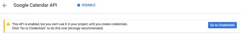 Google calendar API credentials