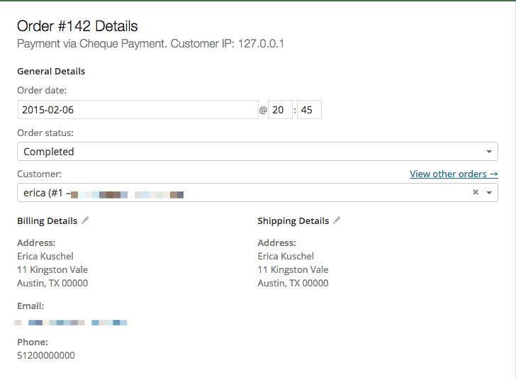 Order data panel