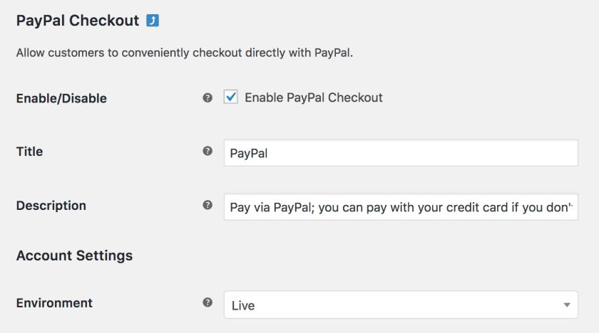 PayPal Checkout Settings