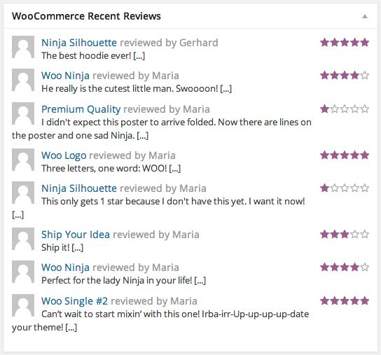 WooCommerce Recent reviews
