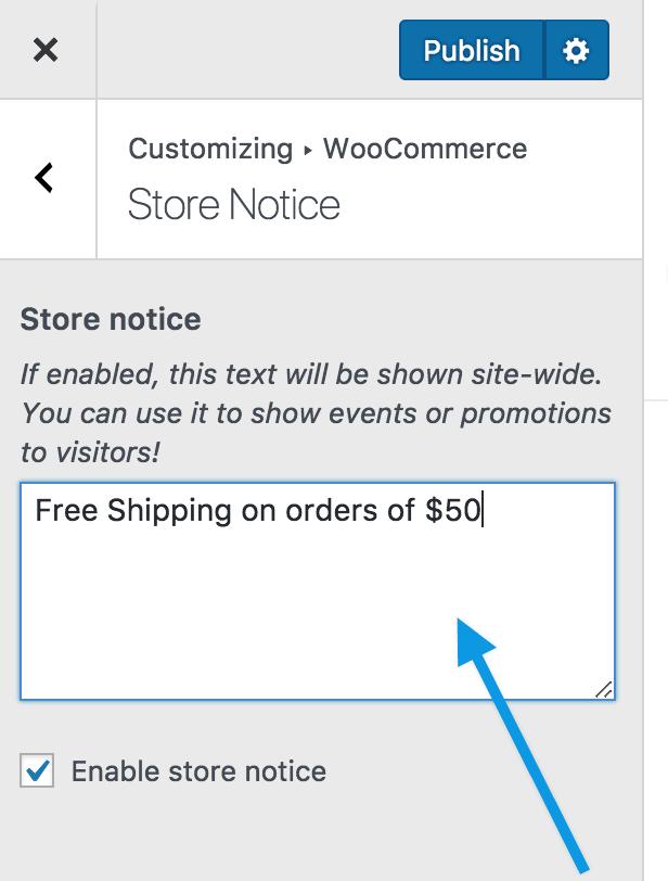 Customize store notice change edit