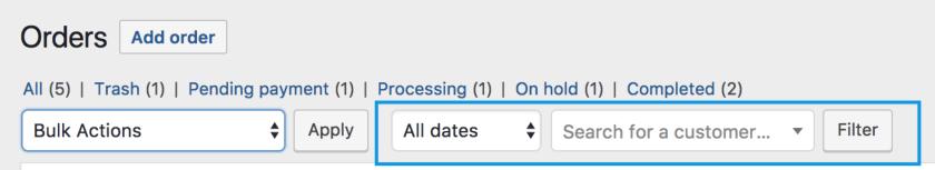 Filter date search customer
