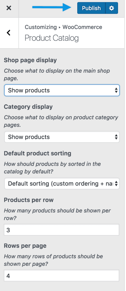 Product catalog shop publish