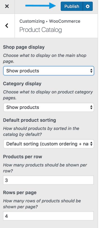 Products catalog Publish