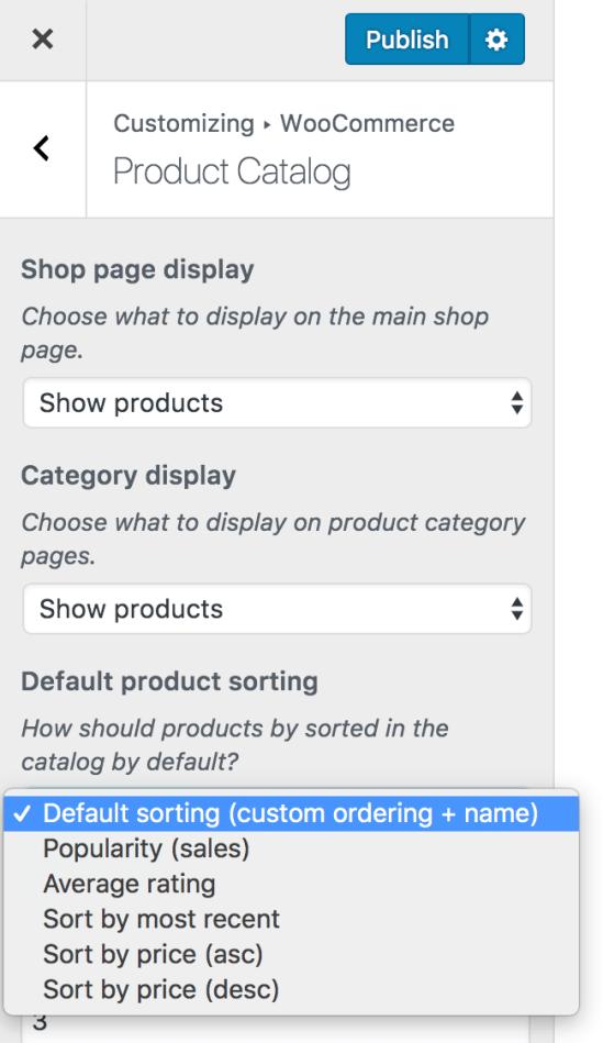 Product sort options