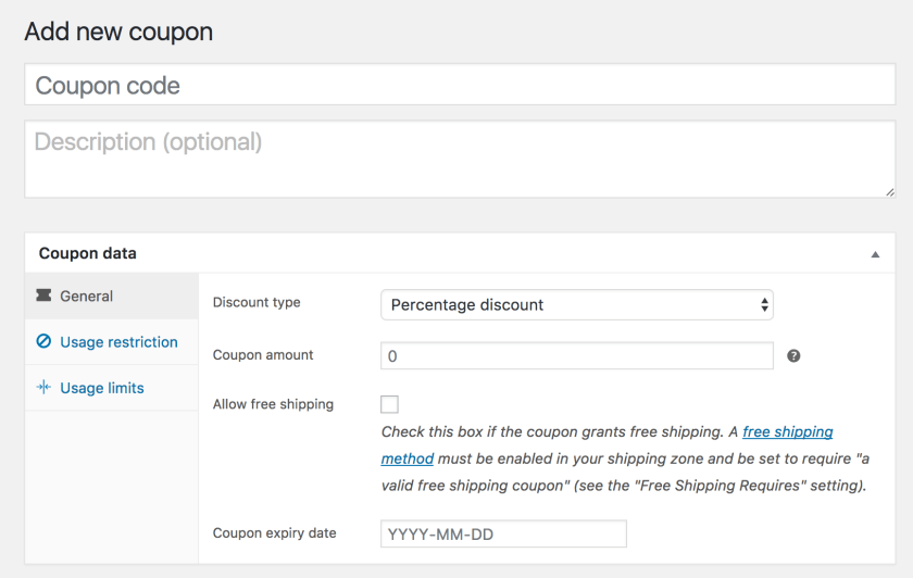 WooCommerce Coupon settings