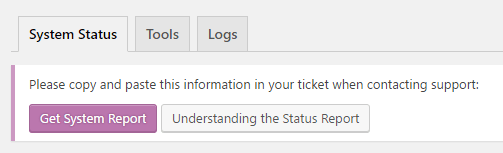 System status menu tools
