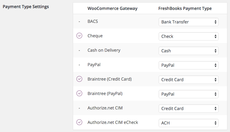 WooCommerce Freshbooks map Gateways