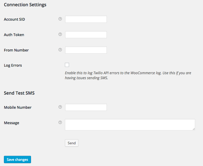 WooCommerce Twilio Connection Test Settings